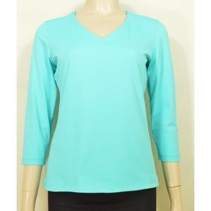 Judy P top SZ S  aqua silky v-neck 3/4 sleeves lin